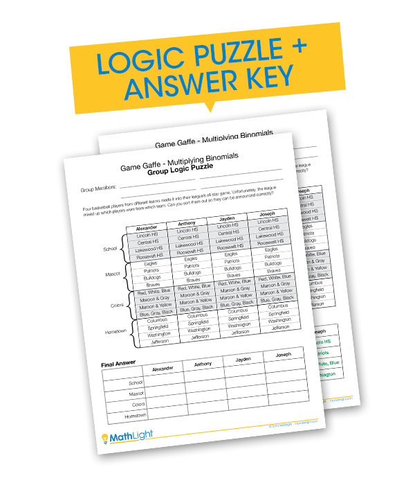 Logic Puzzle + Answer Key