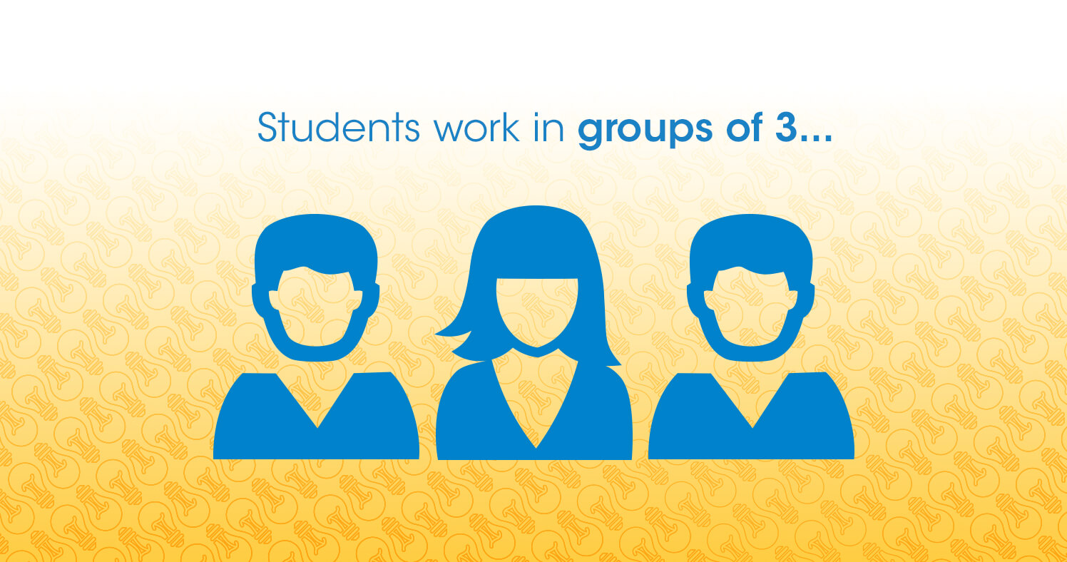 Students work in groups of 3...